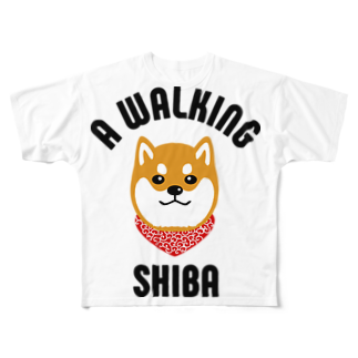 SHIBAINU BROTHERSの柴犬唐草散歩(赤) Full graphic T-shirts
