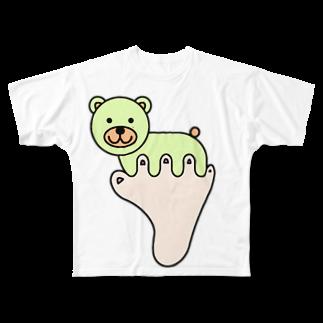 あしゆびふれんずのあしゆびくま Full graphic T-shirts