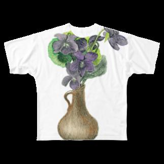 暗国の杜 SUZURI支店のスミレの小瓶 Full graphic T-shirts