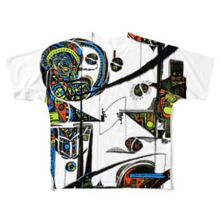 upside down 逆さま Full graphic T-shirts