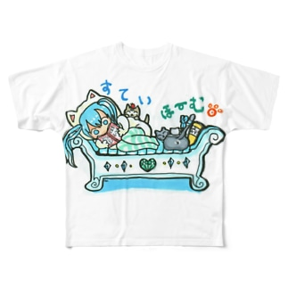 STAY HOME💙mikuと愛猫 Stay home♪ Full graphic T-shirts