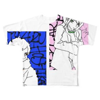干川×ありさ Full graphic T-shirts