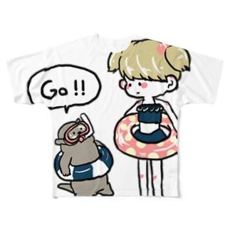 プールらっこ Full graphic T-shirts
