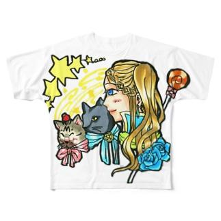 魔法少女miku✨使い魔ニャンズ召喚💙🍓 Full graphic T-shirts