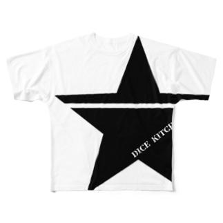 ダイスキッチン応援グッズ(ワンスター黒) Full graphic T-shirts