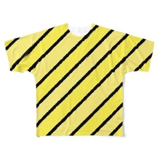 カスタードっぽいカラーストライプ Full graphic T-shirts