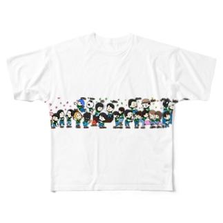 黒猫のデルタ2周年記念品(名前入り) Full graphic T-shirts