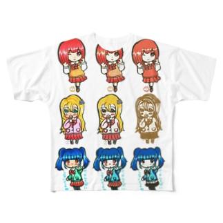 3人娘3×3(みくさんコラボ) Full graphic T-shirts