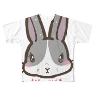 うさぎのかりちゃん Full graphic T-shirts
