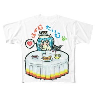 おうち時間💙mikuと愛猫 Home time Full graphic T-shirts