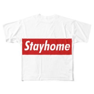 Stayhome BOXロゴシリーズ Full graphic T-shirts
