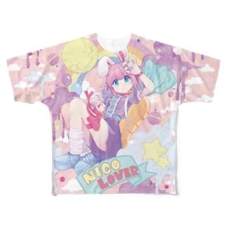 ニコニコ♡LOVERS つるしまたつみ先生 Full graphic T-shirts