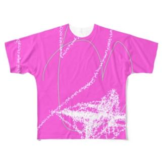 岡田きのこデザイン ピンクのハート Full graphic T-shirts
