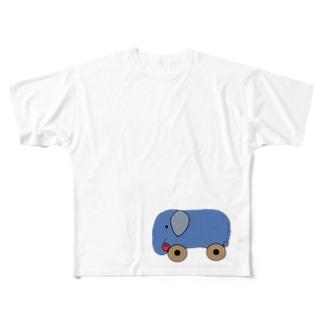 ゾウさんのくるま Full graphic T-shirts