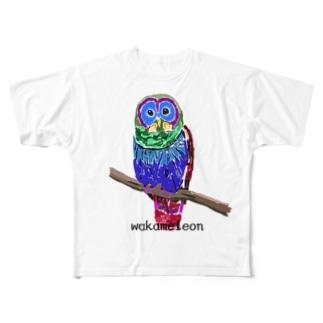 ふくろうちゃん 枠なし Full graphic T-shirts