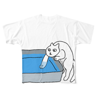 ぺゃんshopの水が気になるねこ Full graphic T-shirts