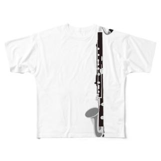 バスクラリネット 縦 Full graphic T-shirts