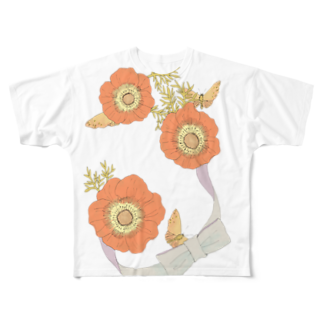 osen_cucchaneの花と蛾 Full graphic T-shirts