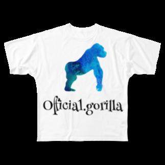Official-gorillaのOfficial.girillaグッズ(ブルーナチュラルver.)黒字 Full graphic T-shirts