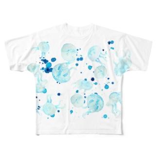 水彩クラゲ 飛沫あり 横位置 Full graphic T-shirts