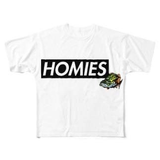 BASSHOMIES(バスホーミーズ)ボックスロゴ ブラックバス バス釣り Full graphic T-shirts