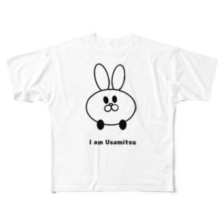 補助輪付きのうさぎ Full graphic T-shirts