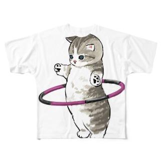 フラフープにゃん Full graphic T-shirts