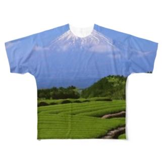 富士山と茶畑 Full graphic T-shirts