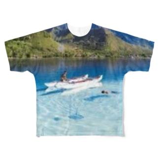 優雅に舟を漕ぐ人 Full graphic T-shirts