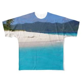 穏やかな南国のビーチ Full graphic T-shirts