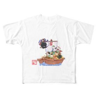ねこ七福にゃ~ Full graphic T-shirts