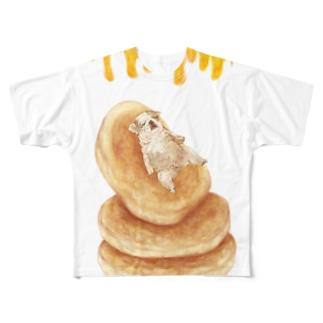 ホットケーキに身をゆだねるパグ Full graphic T-shirts