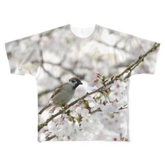 桜に雀 野鳥フルグラフィック スズメ Full graphic T-shirts