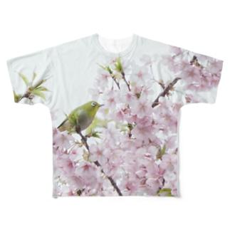 桜に目白 野鳥フルグラフィック メジロ Full graphic T-shirts