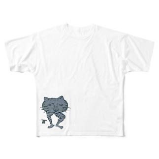 冬虫夏草洋品店猫トラ フルグラフィックTシャツ