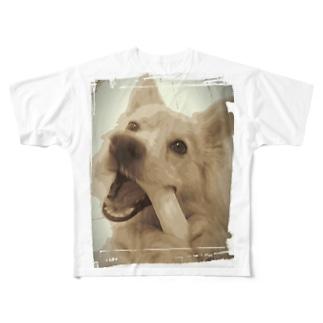 ポメラニアンに見えないポン太 変顔 Full graphic T-shirts
