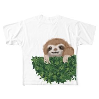 なまけものさん、葉っぱから Full graphic T-shirts