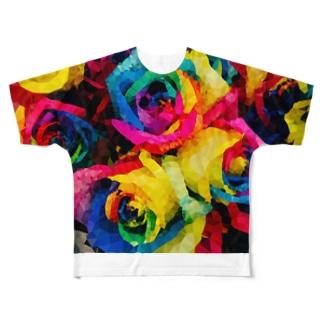 レインボーローズ♡ Full graphic T-shirts