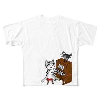 ネコピアノwithヨゲンノトリ Full graphic T-shirts