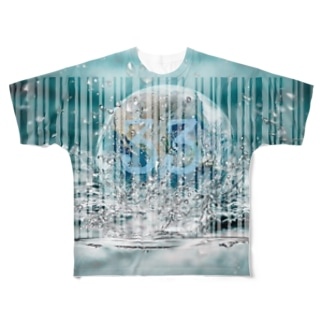 浄化:33 バーコード Full graphic T-shirts