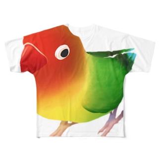 ボタンインコ おすましルリゴシボタンインコ【まめるりはことり】 Full graphic T-shirts
