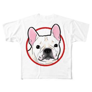 フレンチブルドッグ 白 Full graphic T-shirts