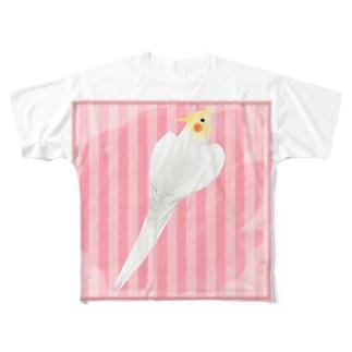 オカメインコ ハートルチノーオカメインコ【まめるりはことり】 Full graphic T-shirts