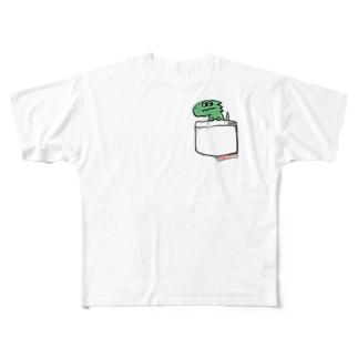 恐竜グランプリ@ポケット_メガロサウルス Full graphic T-shirts