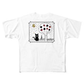 クロネコとスートの木 Full graphic T-shirts