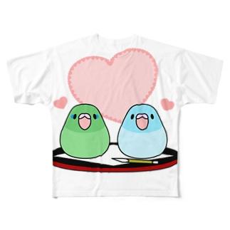 まめ大福マメルリハ【まめるりはことり】 Full graphic T-shirts