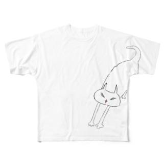 エイの背伸びネコ Full graphic T-shirts