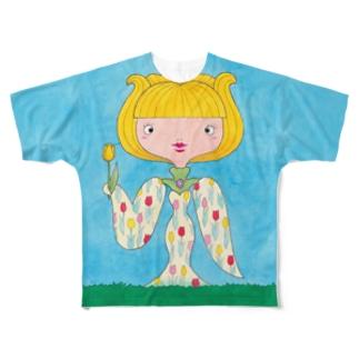 花子と根子(はなことねっこ)/チューリップ Full graphic T-shirts