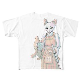 剣道ねこさん Full graphic T-shirts