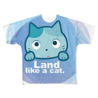 Land like a cat blue 〜 夙川育ち Full graphic T-shirts